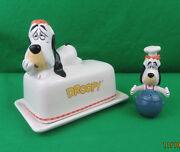 Rare Tex Avery Droopy Ceramic Porcelain Salt And Pepper Shakers And Butter Dish