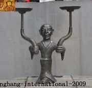 31rare Chinese Palace Dynasty Bronze Ware People Text Candle Holder Candlestick