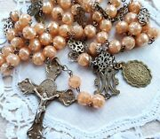 Antique Catholic Rosary S Benedict Cross Oration And Medal Protection Evil Spirits