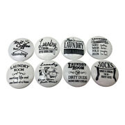 Set Of 8 Black And White Laundry Room Print Wood Cabinet Knobs