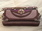 Etro Amazing Exotic Ostrich Calf Hair Purple Leather Bag Purse Italy Sale