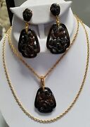 Crown Trifari Necklace And Clip Earring Set Faux Tortoise Shell Lucite Asian Motif