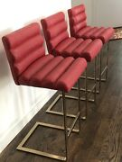 Modern Pace Collection Set Of Three Brass Bar Stools