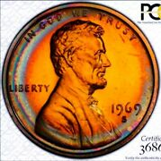 1969 S Pr67++ Red Lincoln Penny Cent Proof/rainbow Toning. True View