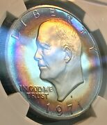 1971-s Ike 1 Ngc Pf67 Ultra Cameo Spectacular Toning, Scratch-free Holder Chn