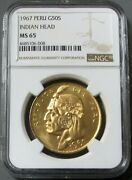 1967 Gold Peru 50 Soles Indian Head Coin Ngc Mint State 65