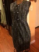 1940's Frock House Dress Fashion Green Blue And White Dragon Fly Vintage
