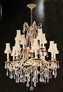 Palace Royal 12 Light French Gold Crystal Chandelier Light W Shades 30x35