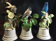 Boehm Porcelain Indigo Bunting, Black-capped Chickadee And White-throated Sparrow