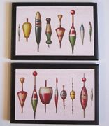 Fish Baits Wall Decor Plaques 2 Old Antique Vintage Fishing Bobbers Men Gift