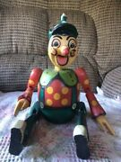 Wooden Pinnochio Jointed Puppet Coin Bank Toy Vintage