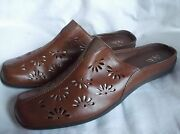 Life Stride Decoy Women's Brown Leather Slip On Flats Mules Floral Cutout 9m