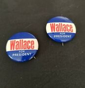 2 Vintage 1968 George Wallace For President Pin Back Political Campaign Button
