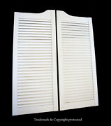 White Cafe Door 36w Pine Louvered Saloon Swinging Pub Bar Western With Hinges