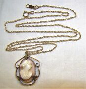 Beautiful 14 K Yellow Gold Antique Carved Shell Cameo Pendant 18andrdquo Necklace