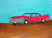 Abstract Original Painting Acrylic On Paper Old Red Car By Artist Pete Lenox
