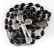 Vintage / Antique Black Rosary Necklace Christian Catholic Stations Of The Cross