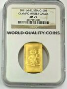 2011 Russia 100 Roubles Gold Rectangular Coin Olympic Leopard Mascot Ngc Ms70