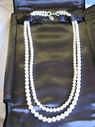 2 Strand Cultured Pearl Necklace With Clasp 925 Silver Ziegfeld 5-6mm