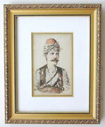 Hungarian Antique Watercolor Drawing Man In Ethnic Dress Signed Andor Framed