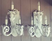2 Vintage Wrought Iron Tole White Gold Large Sconces Crystal Candle Lite Redone