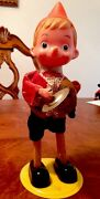 Walt Disney Pinocchio Doll Wind-up Tin Toy Playing Cymbal 1940s Vintage Works
