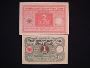 Lot Old German 1920 Paper Banknotes Uncirculated 1 And 2 Mark Reichs Money - 370