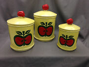 Set Of Enesco Kitchen Canisters Red Apple Yellow Green Ceramic Canister Retro