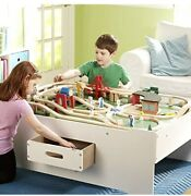 Melissa And Doug Deluxe Wooden Multi-activity Play Table - For Trains Puzzles G