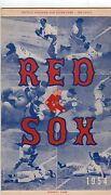 1954 Boston Red Sox Program Harry Agganis/first Hit/opening Day Fenway Park