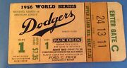 1956 World Series Gm 1 Ticket Mickey Mantle/jackie Robinson Both Hr/dodgers Win