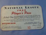 1953 Ticket Pass Ernie Banks And Milwaukee Braves First Gm/hit/hr/bernier Signed