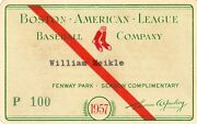 1957 Ticket Pass Ted Williams Ll Ba 388/13 Hr Boston Red Sox/athlete Of Year Ex