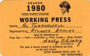 1980 Pittsburgh Pirates Pass Ticket Mike Schmidt Hr 39 Lead League 48 Phillies
