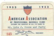Harry Agganis Boston Red Sox 1953 Pass Ticket Louisville Colonels Minor League