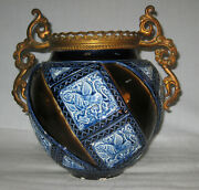 Antique French 19 Century Majolica Vase With Ormolu 9 Tall  Ca. 1836