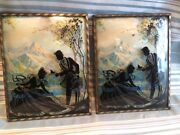 Pair Glass Convex Silhouette Southern Bell Lady Mountain Framed Picture Vintage