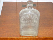 Four Aces American Rye Whiskey Glass Embossed Flask Bottle