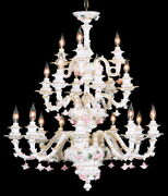 New Capodimonte Chandelier W/18 Lights White And Gold W/roses