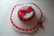 Vtg Red Tomato Pin Cushion With Strawberry And Plastic Hat And Sequins