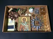 Junk Drawer Of Vintage Icon Revlon Brass Copper Pins Cards Buttons