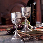 Set Of 2 Solid Pewter Wine Goblets Olde World Chalice In Gift Box Made In Italy