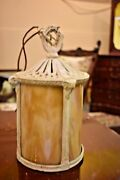 Antique Slag Glass Arts And Crafts Style Hanging Light Fixture Lamp