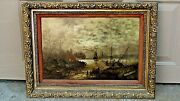 Victorian Old Master Holland Original Oil On Board Cottage Scene Painting