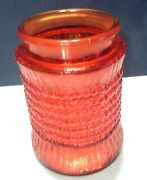 Vintage L E Smith Haystack Red Amberina Glass Canister. 7.5 Tall Without Lid