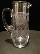 Heisey Glass Pied Piper Etched 64 Oz Pitcher