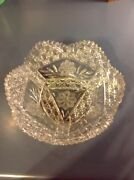 Stunning Antique Large Cut Glass 3 Pound Bowl File Buttons And Blocks Pattern