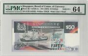 1997 Singapore Ship Series 50 Solid 222222 Pmg 64