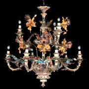 New Capodimonte Chandelier 9 Lights W/15 Orchids Mother Of Pearl Made In Italy