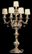 New Capodimonte Candelabra Lamp Brown And Gold Finish 6 Lights W/6 Shades Italy